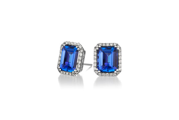 Tanzanite-International-Emerald-Halo-Earrings